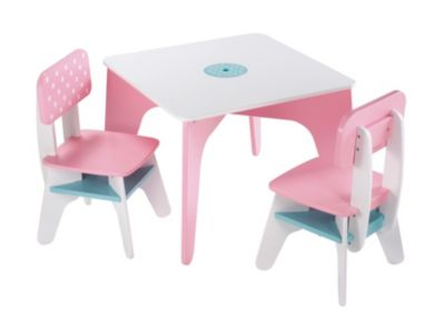 Wooden Table And Chairs - Pink
