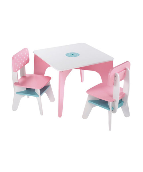 Early Learning Centre Wooden Table And Chairs - Pink
