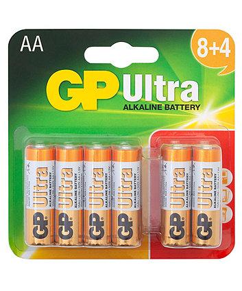 Gp Ultra Alkaline Aa Batteries -  Card Of 12 8+4 Free
