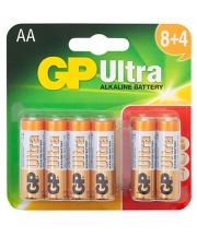 Gp Ultra Alkaline Aa Batteries -  Card Of 12 8+4 Free