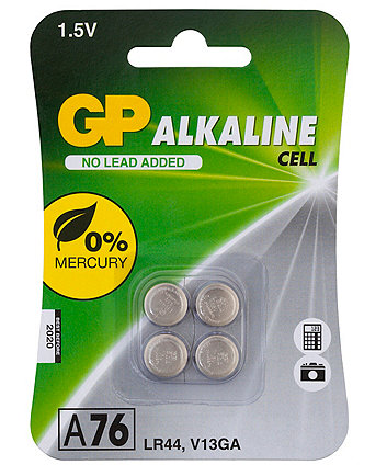 Gp Alkaline Button A76 Lr44 Batteries - Card Of 4