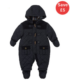 View Details Of Mothercare Quilted Check Lined Snowsuit