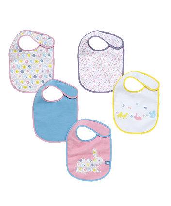 Mothercare Buttercup Bunny Newborn Bibs - 5 Pack