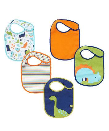 Mothercare Dinosaur Newborn Bibs - 5 Pack