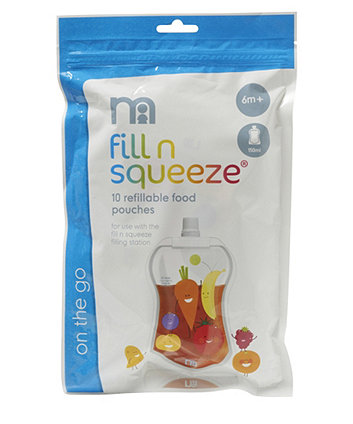 Mothercare Fill n Squeeze Sterile Baby Food Pouches - 10pack x 150ml