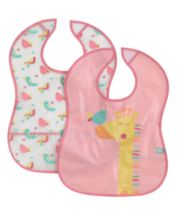Mothercare Giraffe and Bird Crumbcatcher Bibs- 2 Pack