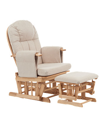 *Mothercare Natural Reclining Glider Chair With Beige Cushion