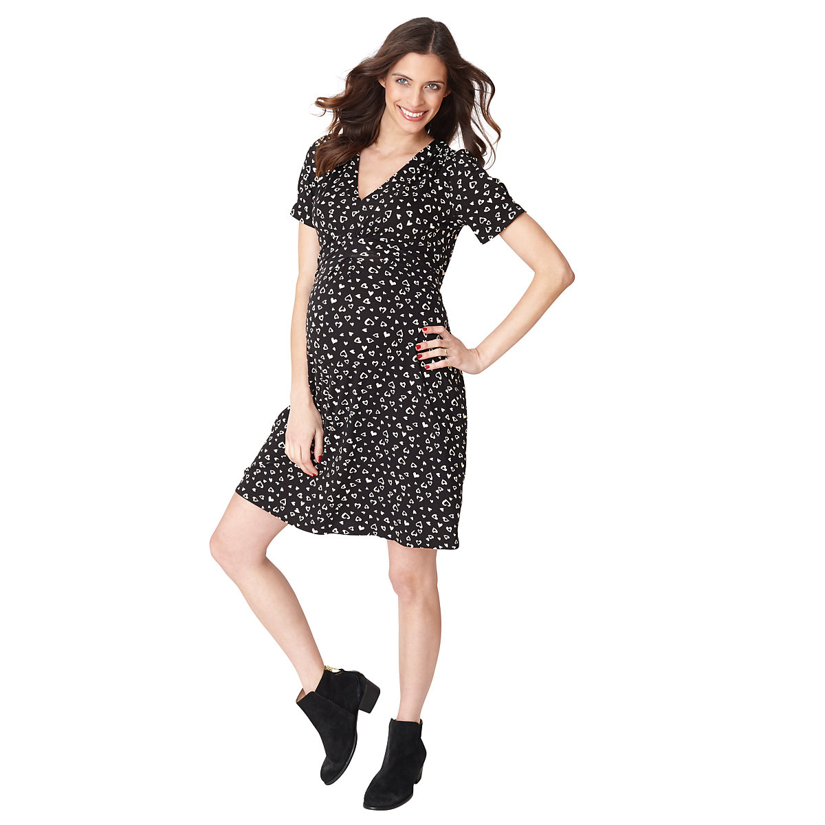 Blooming Marvellous Maternity Jersey Black And Cream Heart Print Dress