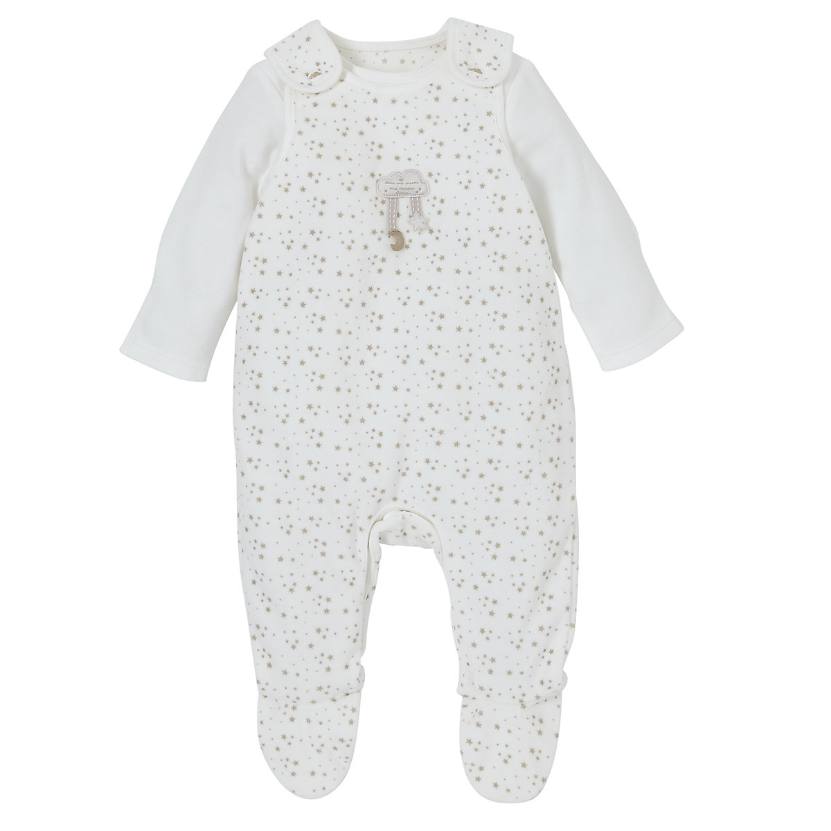 Mothercare Stars and Dreams Velour Dungarees Set