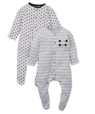 Mothercare Baby Newborn Boy's Unisex Panda Sleepsuits - 2 Pack