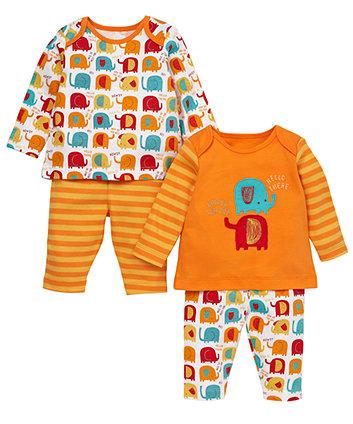 Elephant pyjamas 2 pack pyjamas mothercare - Pyjama elephant ...