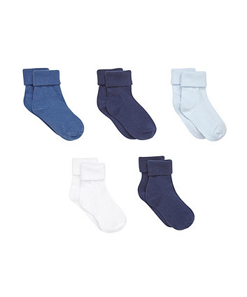 Mothercare Multi Blue Turn Over Top Socks- 5 Pack
