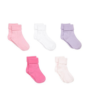 Pink and White Turn Over Top Socks- 5 Pack