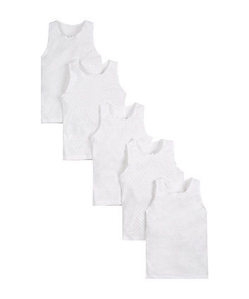 Mothercare White Sleeveless Vests - 5 Pack