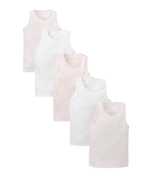 Pink and White Vests - 5 Pack