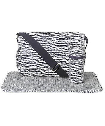 Mothercare Laminated Messenger Changing Bag - Navy Rain Stripe