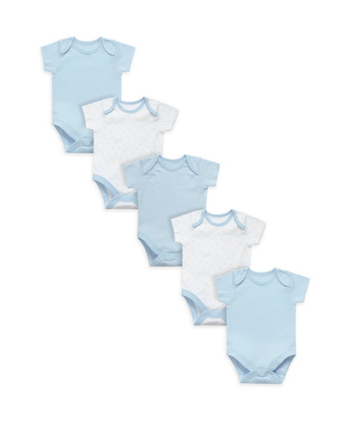 My First Blue Bodysuits - 5 Pack