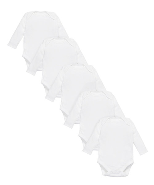 My First White Longsleeve Bodysuits - 5 Pack