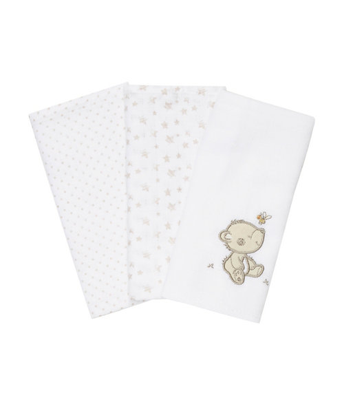 Cuddle Me Bear Muslins - 3 Pack