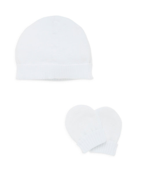 Mothercare My First Knitted Hat and Mitts - White, New Baby