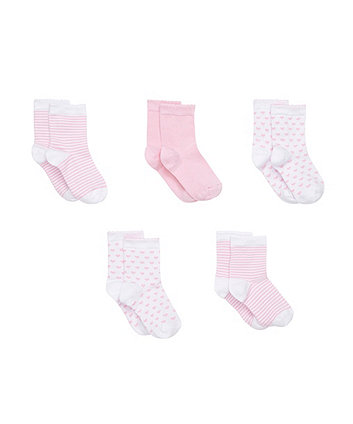 Pink and White Patterned Socks- 5 Pack