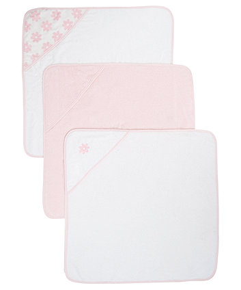 Mothercare Pink Cuddle 'N Dry Hooded Towels - 3 Pack