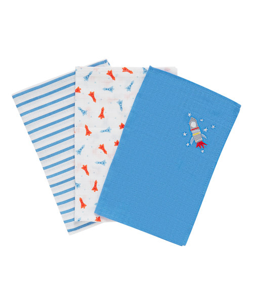 Mothercare Space Dreamer Muslins - 3 Pack