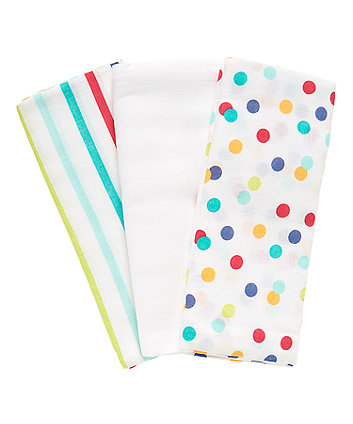 Mothercare Little Artist Extra Large Muslin Cloths - 3 Pack