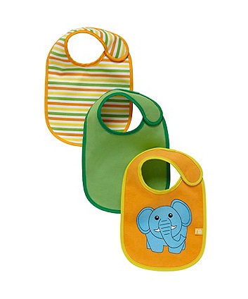 Mothercare Elephant Bibs - 3 Pack