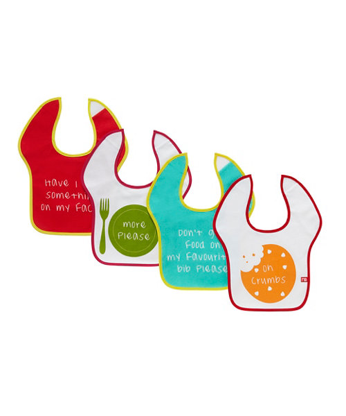 Mothercare Slogan Toddler Bibs - 4 Pack