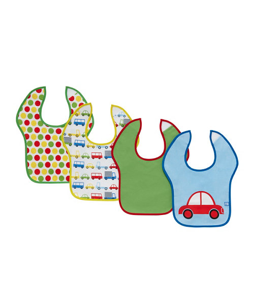 Mothercare Car Toddler Bibs - 4 Pack