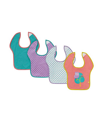 Mothercare Owl Toddler Bibs - 4 Pack