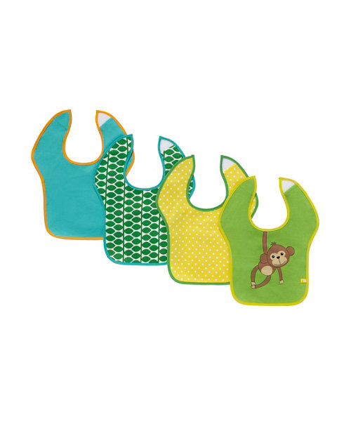 Mothercare Monkey Toddler Bibs - 4 Pack