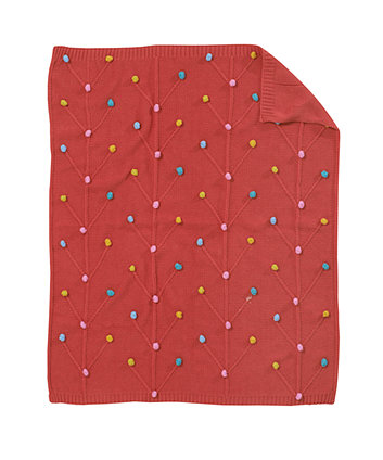 Mothercare Norwegian Wood Knitted Pom Pom Blanket