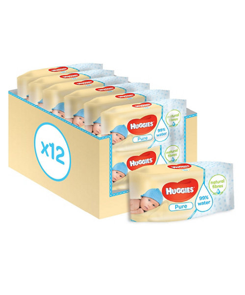 Huggies Pure Wipes - 12 x 56 Sheets *Online Exclusive*