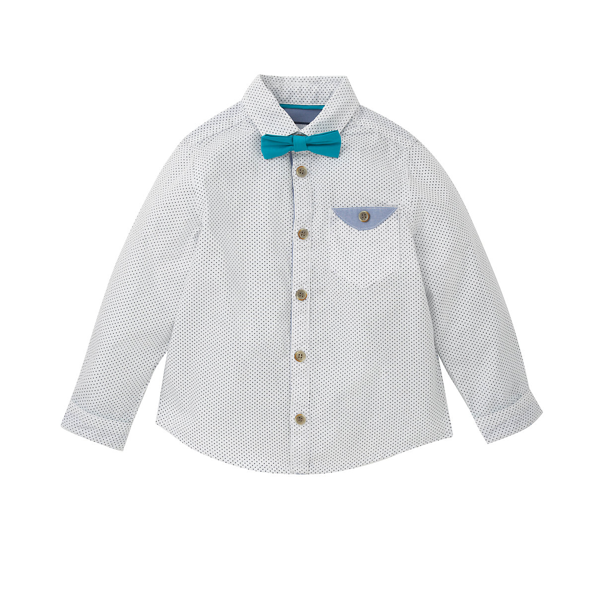 Add an upgrade to his formal look! This boy's dresswear set features a long sleeve dress shirt with a single chest pocket and a stripe clip-on bow tie for the perfect color contrast.
