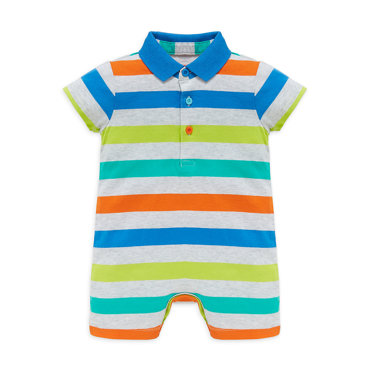 Discover a range of super adorable baby boy rompers in colours so appealing and prints so cute, you're sure to find the right pick for your boy. With slogans, animal prints, stripes and hues, style your baby in a snuggly romper suit or browse comfy shorts and trainers perfect for boys' seasonal style.