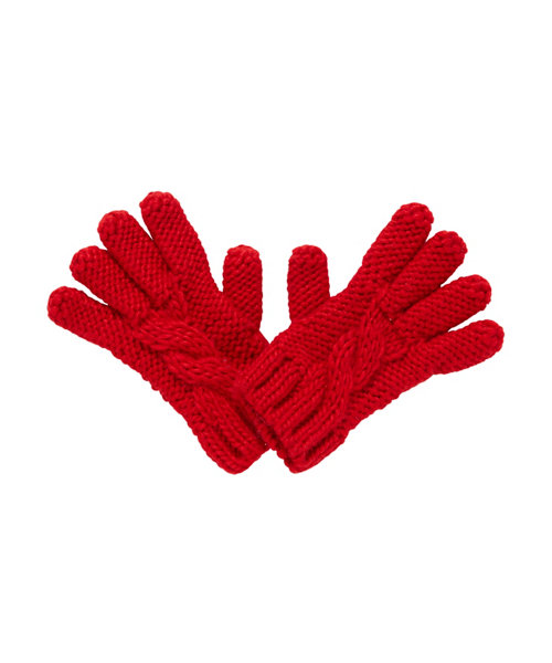Red Cable Knit Gloves size 6-8 years