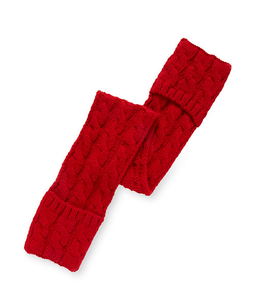 Red Cable Knit Scarf with Pockets