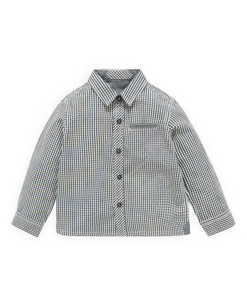 Blue and White Jacquard Gingham Shirt
