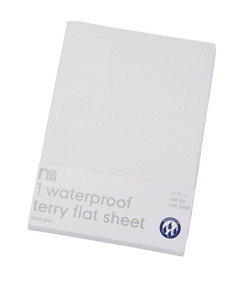 Mothercare Waterproof Terry Flat Sheets - Cot/Cot Bed