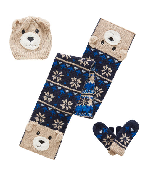Dog  Fairisle Hat, Scarf and Mittens