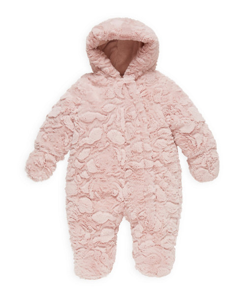 Pink Fluffy Wadded Snowsuit