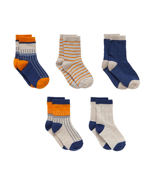 Mothercare Spot and Stripe Socks - 5 Pack