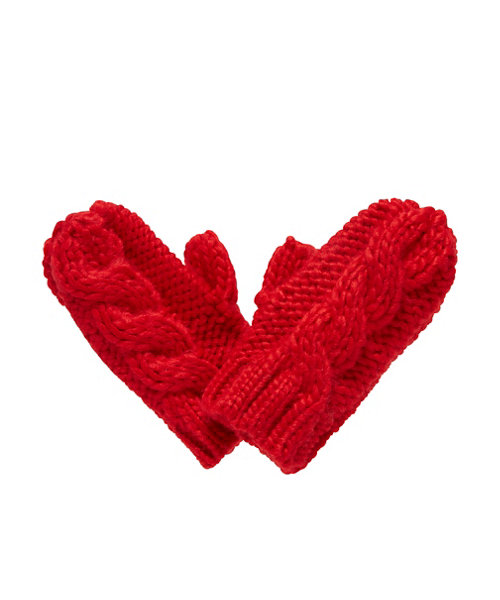 Red Cable Knit Mittens 3-6 yrs