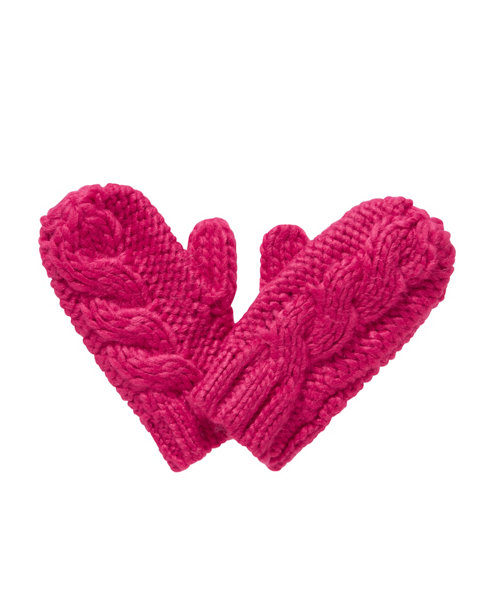 Pink Cable Knit Mittens