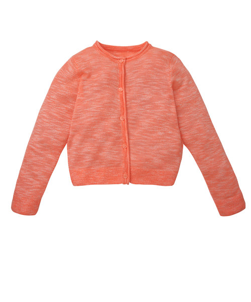 Neon Coral Space Dye Knitted Cardigan Size 3-4years