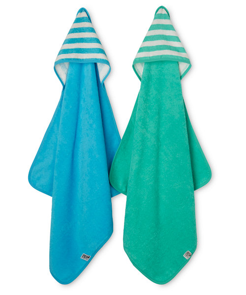 Mothercare Blue and Teal Cuddle and Dry Hooded Towels - 2 Pack