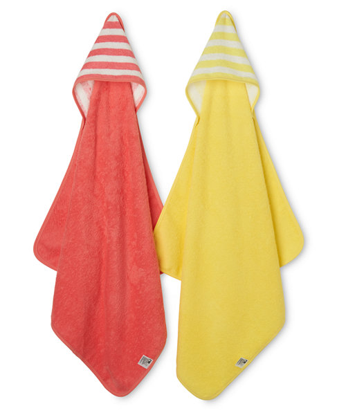 Mothercare Pink and Yellow Cuddle and Dry Hooded Towels - 2 Pack