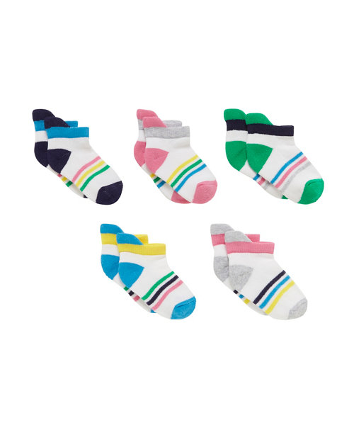 Mothercare Striped Trainer Socks - 5 Pack Size 7-10years